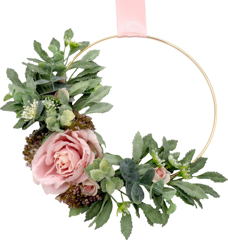 Dekokranz Blütenkranz Wandkranz Türkranz Rosa Hochzeit Deko Hochzeitsdeko