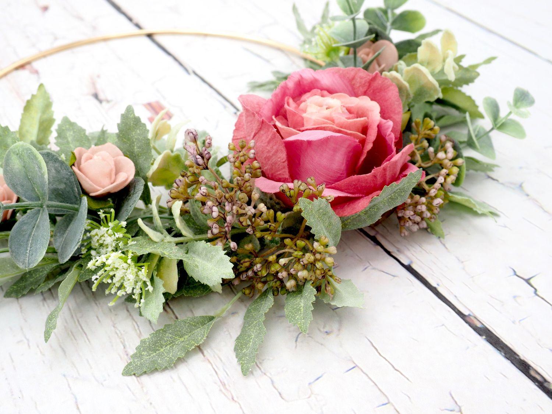 Dekokranz Blütenkranz Wandkranz Türkranz Mauve Altrosa Hochzeit Deko Hochzeitsdeko