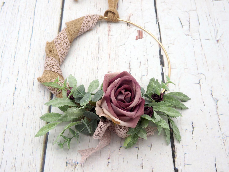 Dekokranz Blütenkranz Wandkranz Türkranz Lila Jute Hochzeit Deko Hochzeitsdeko