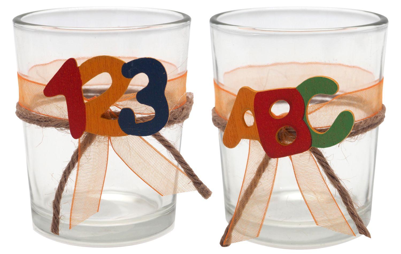 2x Teelichtglas Schulanfang Einschulung Tischdeko ABC Party Kinder Bunt