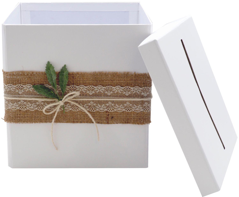 Briefbox Kartenbox Rustikal Hochzeit Vintage Jute Spitze Kraft Natur Geldgeschenk Deko MARTHA