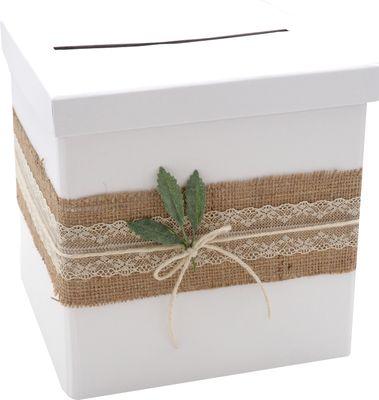 Briefbox Kartenbox Rustikal Hochzeit Vintage Jute Spitze Kraft Natur MARTHA
