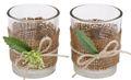 2x Teelichtglas Hochzeit Geburtstag Vintage Tischdeko Deko Kerzenglas Jute Spitze Creme Natur MARTHA 1