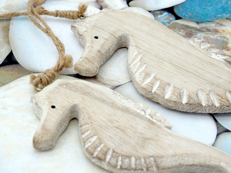 2x Seepferdchen Holz Anhänger Deko Maritim Figur Hängedeko Maritime Deko
