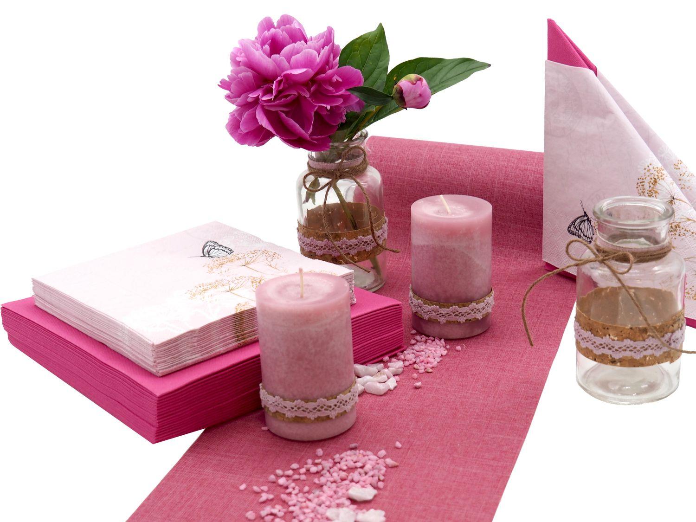 Tischdeko Hochzeit Geburtstag  Beeren Pink Berry Deko SET 20 Person