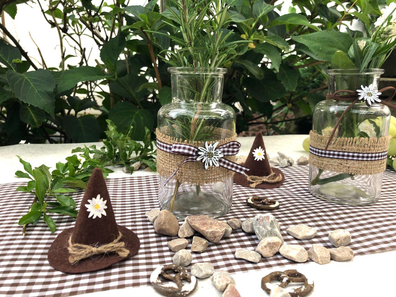 2 Vasen Oktoberfest Bayrisch Braun Tischdeko Edelweiß Deko Party Partydeko