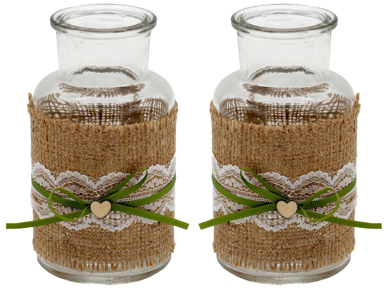 2 Vasen Hochzeit Vintage Weiß Jute Spitze Herz Tischdeko Geburtstag JOLIEN