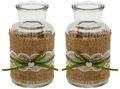 2 Vasen Hochzeit Vintage Weiß Jute Spitze Herz Tischdeko Geburtstag JOLIEN 1
