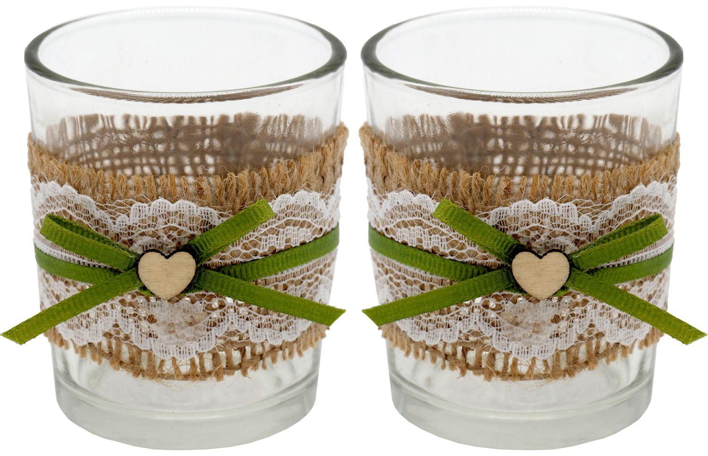 2 Teelichthalter Teelichtgläser Hochzeit Geburtstag Vintage Tischdeko Deko Kerzengläser Jute Spitze JOLIEN