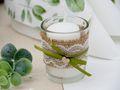 2 Teelichthalter Teelichtgläser Hochzeit Geburtstag Vintage Tischdeko Deko Kerzengläser Jute Spitze JOLIEN 2