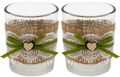 2 Teelichthalter Teelichtgläser Hochzeit Geburtstag Vintage Tischdeko Deko Kerzengläser Jute Spitze JOLIEN 1