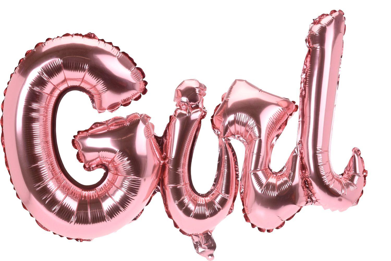 Folienballon Ballon Partydeko Schriftzug GIRL Rosa Baby Party Geburt Deko Luftballon Raumdeko