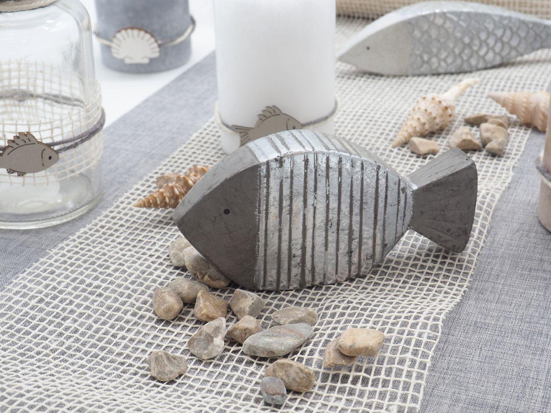 Tischdeko Maritim Deko Sommer Fische Muscheln Grau Creme Naturdeko SET