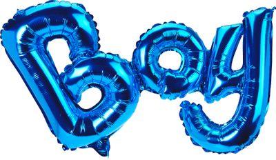 Folienballon Schriftzug BOY Blau Baby Party Geburt Deko