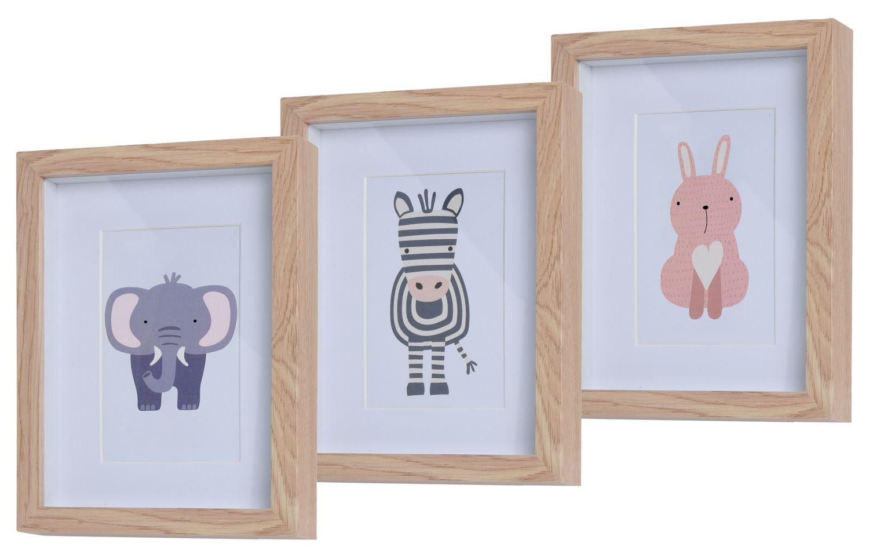 3 Bilderrahmen Holz mit Tiermotiv Kinderzimmer Deko Holzrahmen Wanddeko Wandbilder Raumdeko Geburt Baby Party