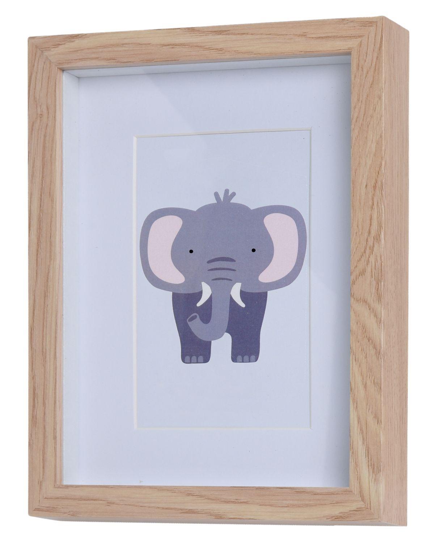 3 Bilderrahmen Holz mit Motiv Elefant Kinderzimmer Deko Holzrahmen Wanddeko Wandbilder Raumdeko Geburt Baby Party