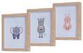 3 Bilderrahmen Holz mit Tiermotiv Kinderzimmer Deko Holzrahmen Wanddeko Wandbilder Raumdeko Geburt Baby Party 1