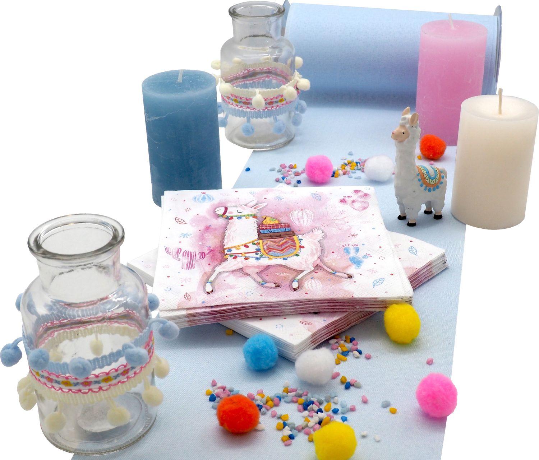 Tischdeko Kindergeburtstag Lama Alpaka Party Geburtstag Blau Dekoration
