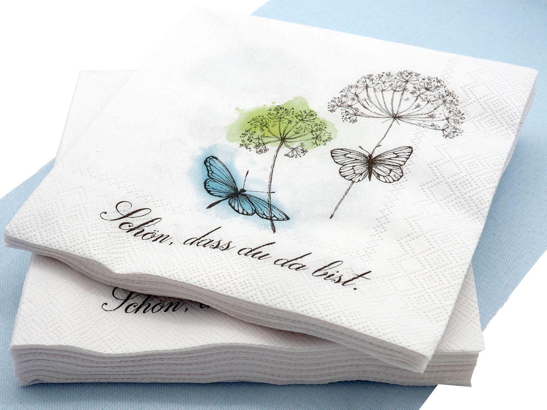 """Servietten Tischdeko Hochzeit Schmetterlinge """"Schön dass du da bist"""" 20 Stück Geburtstag Party Deko"""