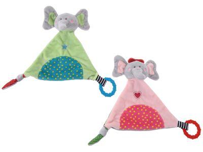 Kuscheltier Schnuffeltuch Rassel Elefant Grün Rosa Kuscheltuch Baby