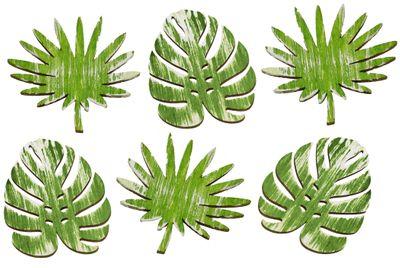 Tischdeko Monstera Farn Blätter Streudeko Holz Grün 6 Stück 7,5cm Basteln