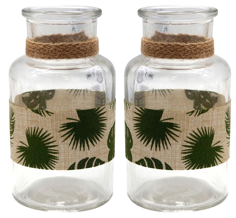 2 Vasen Tischdeko Monstera Blatt Dschungel Natur Grün Garten Sommer