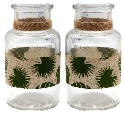 2 Vasen Tischdeko Monstera Blatt Dschungel Natur Grün