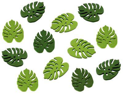 Tischdeko Monstera Streudeko Blätter Holz Grün 12 Stück 3,5cm Basteln