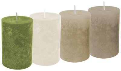 4 Kerzen Stumpenkerzen Tischdeko Grün Beige Creme Braun Adventskerzen