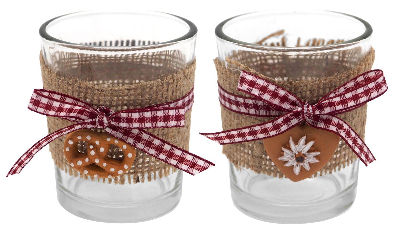 Tischdeko Oktoberfest Bayrisch 2 Teelichthalter Teelichtgläser Glas Raute Rot Party Deko