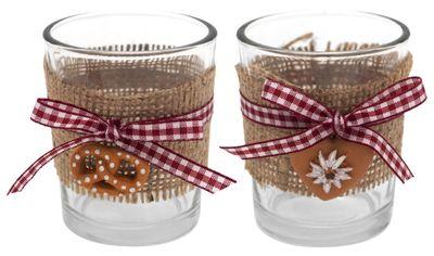 Tischdeko Oktoberfest Bayrisch 2 Teelichthalter Teelichtgläser Rot