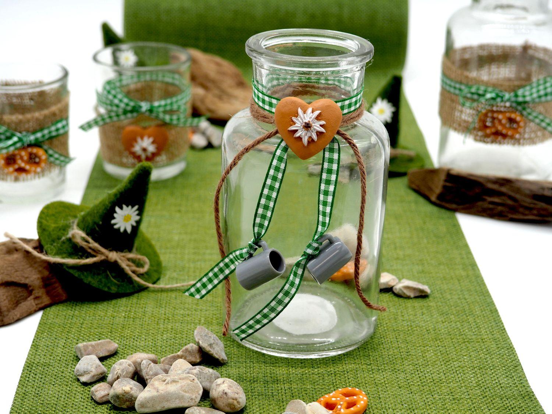 Tischdeko Oktoberfest Bayrisch 2 Vasen Glas Raute Grün Party Deko