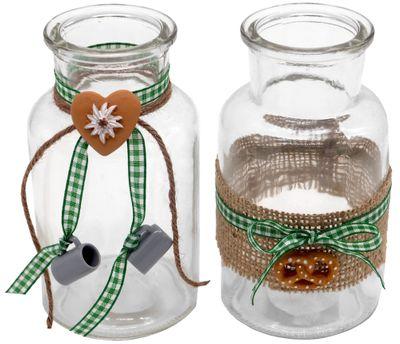 Tischdeko Oktoberfest Bayrisch 2 Vasen Glas Raute Grün