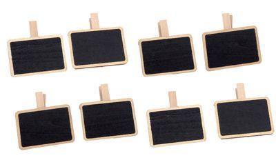 8 Tischkarten Mini Kreidetafel Tischdeko Namensschilder mit Holzklammer Einschulung Party Deko Buffet