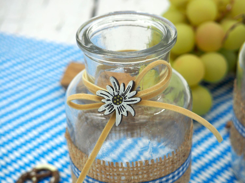 Tischdeko Oktoberfest Bayern 2 Vasen Glas Blau Weiß Kariert Enzian Party Deko