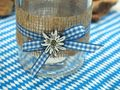 Tischdeko Oktoberfest Bayern 2 Vasen Glas Blau Weiß Kariert Enzian Party Deko 3