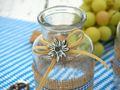 Tischdeko Oktoberfest Bayern 2 Vasen Glas Blau Weiß Kariert Enzian Party Deko 5
