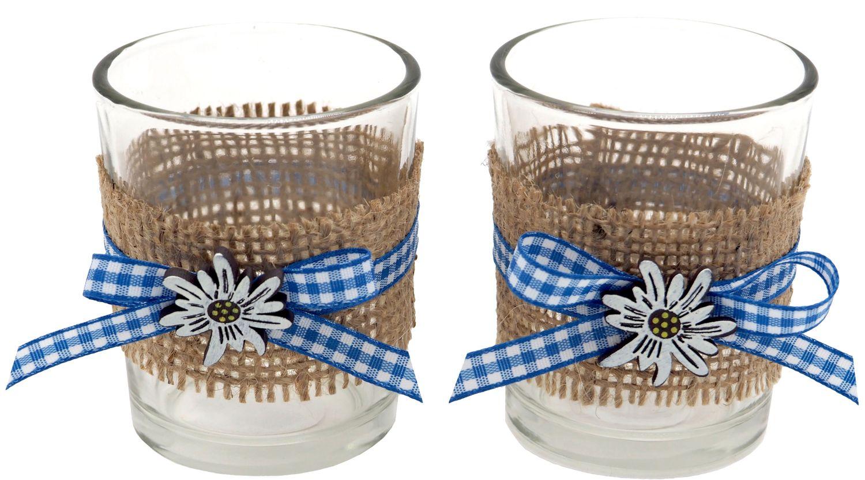 Tischdeko Oktoberfest Bayern 2 Teelichthalter Teelichtgläser Blau Weiß Enzian Party Deko