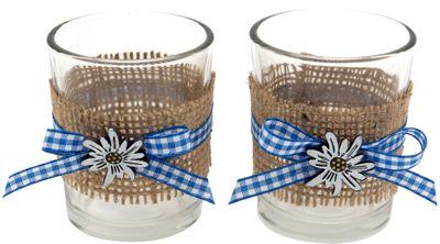 Tischdeko Oktoberfest Bayern 2 Teelichthalter Teelichtgläser Blau Weiß Enzian