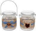 Tischdeko Oktoberfest Bayern 2 Windlichter Glas Blau Weiß Kariert 001