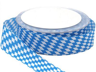 25m 25mm Karoband Blau-Weiss Bayrisch Raute Dekoband Oktoberfest Basteln