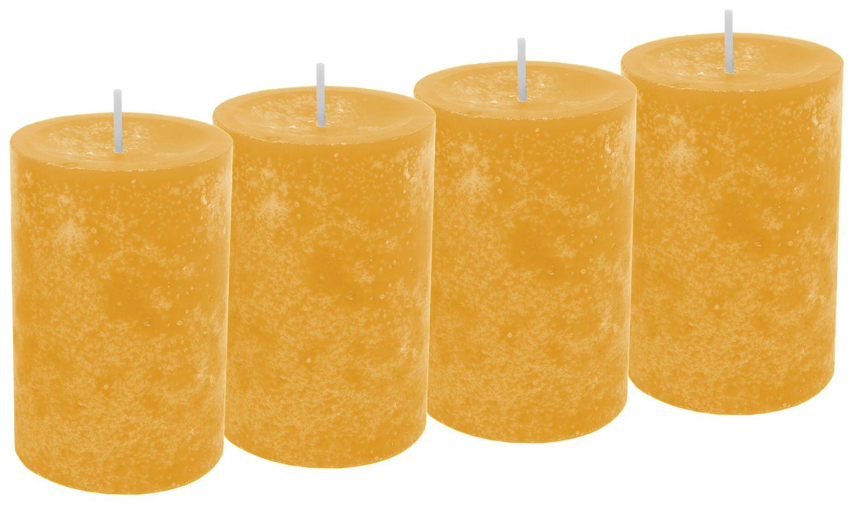 4 Kerzen Stumpenkerzen Tischdeko Kerzendeko Herbst Deko Adventskerzen Gelb Senf