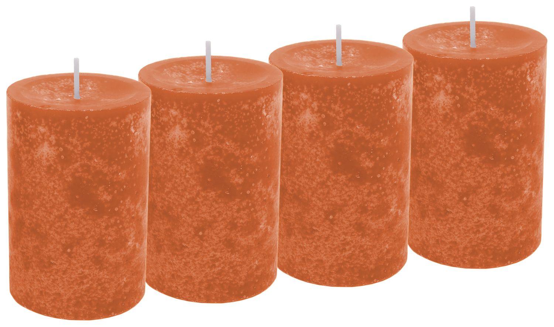 4 Kerzen Stumpenkerzen Tischdeko Herbst Deko Adventskerzen Kürbis Orange