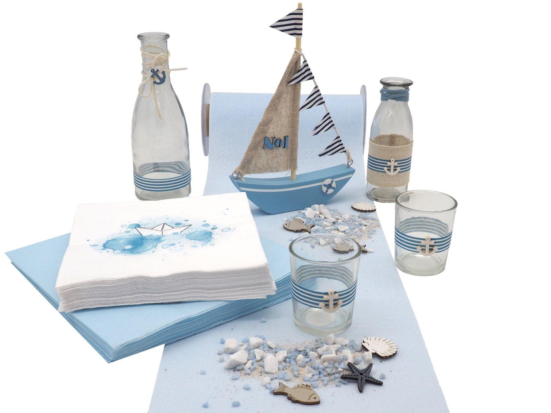 Tischdeko Maritim Taufe Kommunion Blau Segelboot Deko Vasen Servietten Teelichgläser Streudeko SET