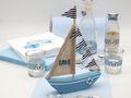 Tischdeko Maritim Taufe Kommunion Blau Segelboot Deko Vasen Servietten Teelichgläser Streudeko SET 2