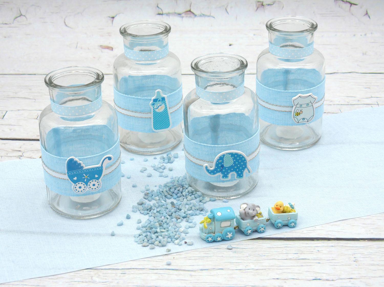 4 Vasen Tischdekoration Taufe Taufdeko Junge Baby Blau