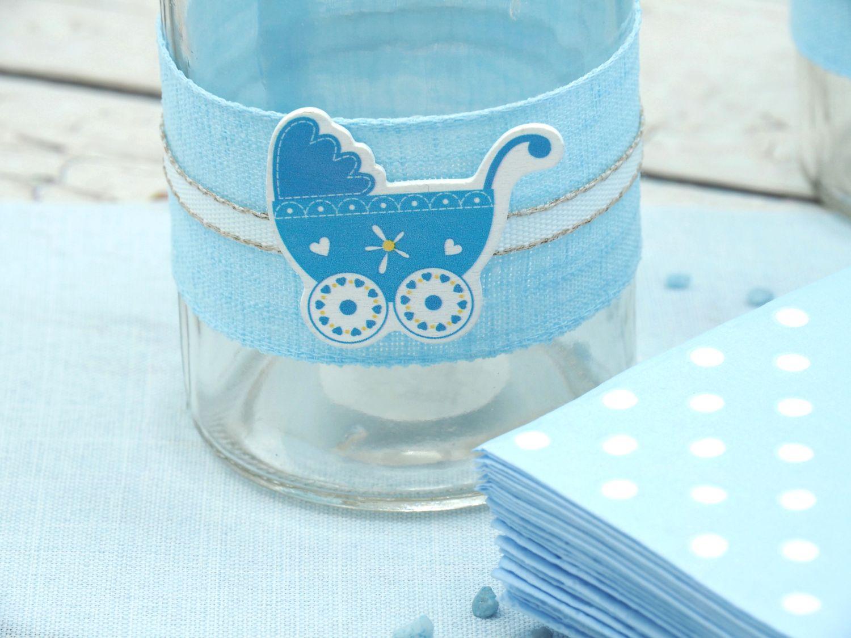 4 Vasen Tischdekoration Taufe Taufdeko Junge Blau Babyparty Partydeko
