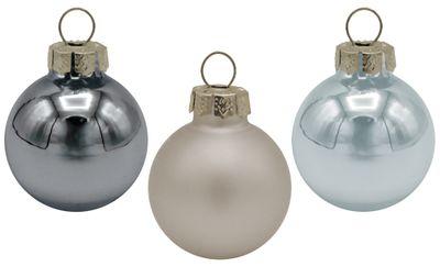 18 Weihnachtskugeln Christbaumschmuck Weihnachtsdeko Weihnachtsbaum Silber Blau Grau