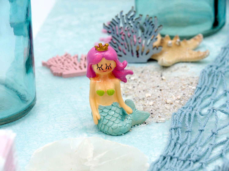 Deko Figur Meerjungfrau Tischdeko Nymphe Türkis Pink 3 Stück Partydekoration Kindergeburtstag