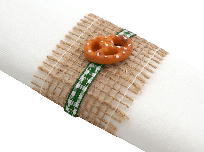 Serviettenringe Oktoberfest Bayrisch Jute Karo 4 Stück Brezel Edelweiß